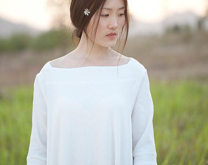 Women dress - Dress 3/4 sleeves - Autumn long dress - Cotton dress - Made to order