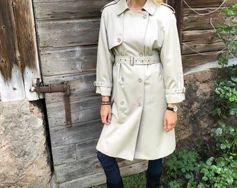 Beige Womens Trenchcoat Light Beige Women's Trench Coat Classic Raincoat Double Breasted Trench Preppy Trenchcoat Size Medium Overcoat