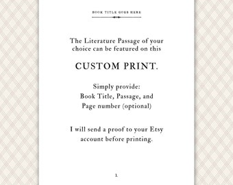Custom Quote Print, literary gift print, book lover gift, personalized gift, literary quote