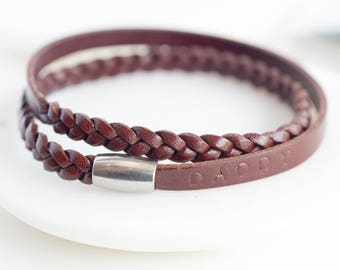Personalized Wrap Wristband, Brown Genuine Leather Wristband, Gift for Him, Magnetic Closure Wristand