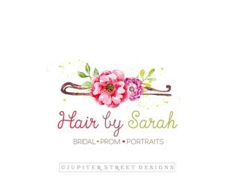 Hairstylist Logo-Bobby Pin Logo-Hair Pin Logo-Watercolor Logo-Flower Logo-Watermark-Branding-FREE font change