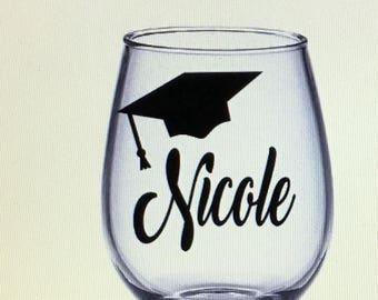 Graduation gift idea etsy graduation wine glass graduation gift gift for graduation graduate gift graduate wine glass graduation gift ideas grad wine glass negle Choice Image