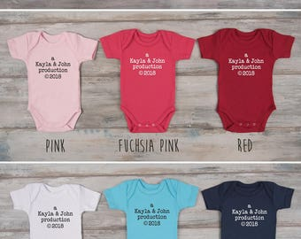 Coming Home Baby Outfit, Custom Name PARENTS PRODUCTION Bodysuit, Gender Neutral Baby Gift, Baby Shower Gift,  Baby Girl, Baby Boy Clothes