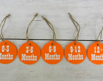 Baby Closet Tag Organization - Infant Clothing Divider - Circle Month Size Separators - Baby Shower Gift - Baby Clothes Tags