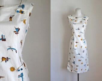 vintage 1960s dress - WINE IMPORTER novelty print shift dress / S