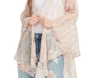 ASSORTED COLORS - Flower Print Long Sleeve Kimono Cardigan