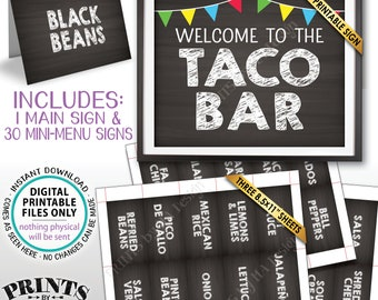"""Taco Bar Sign and Labels, Build Your Own Taco Station, Taco Buffet, Mexican Bar, Chalkboard Style PRINTABLE 8x10"""" Sign & 2x3.5"""" Labels <ID>"""