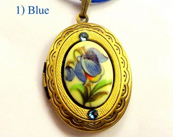 Your Choice, Cameo Locket Necklace, Antique Painted Flower Cameos, With Blue, Pink, Brown, & Purple Flowers, Ladies Gift, Under 25 Bucks