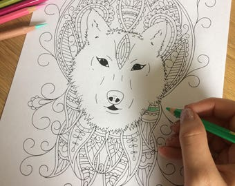 Adult colouring page, Mystical Wolf, coloring