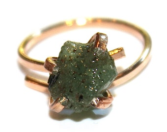 Rose Gold Emerald Ring Modern Ring Raw Emerald Ring Birthstone Emerald Emerald Nugget Ring Pink Gold Ring Adjustable Ring Emerald Jewelry