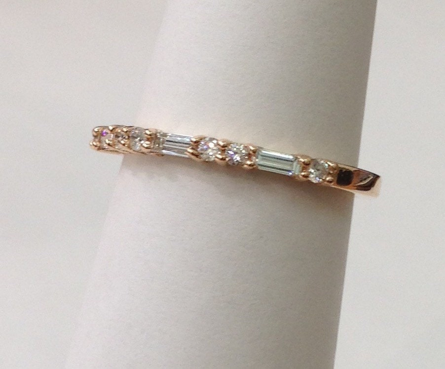 Straight Wedding Band of Baguette and Round Diamonds 14K