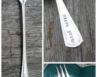 "Hand Stamped ""Olive YOU"" fork"