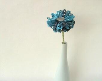 Aegean Blue Ribbon Flower a handmade artificial flower