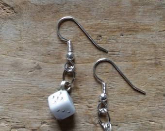 White dice earrings