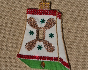Vintage Felt Christmas Bell Ornament Switch Cover, Sequined, 1960s