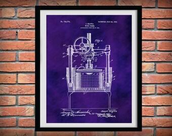 Patent 1903 Wine Press - Wine Art Print Poster - Wall Art - Winery Wall Art - Bacchus - Dionysus - Wine Tour Art