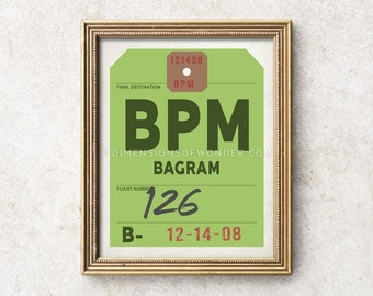 Bagram airport code print, military gifts, custom aviation art, aviation gifts, aviation decor, baggage tag travel art gifts for travelers.