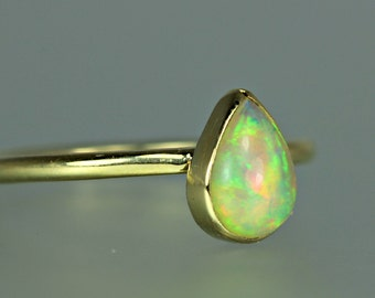 Opal Ring - Opal Gold Ring - Opal 18 KT Solid Gold Ring - Ethiopian Opal Gold Ring - Opal Stacking Ring - Gold Ring - Opal Gold Stacker