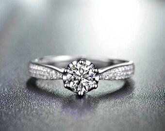 Round Cut Moissanite Engagement Ring 14k White Gold Forever One Moissanite Ring Diamond Engagement Ring Art Deco Charles & Colvard