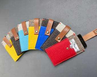 Iphone 8 7 6  felt case with pocket and leather closure - many colour options