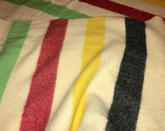 "Vintage Striped Wool Blanket Hudson Bay Pennys Camp Trapper Blanket Red Green Yellow Black 76"" X 80"""