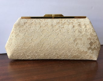 Gold Lace Clutch Purse with Gold Tone  Finish Snap Close Frame