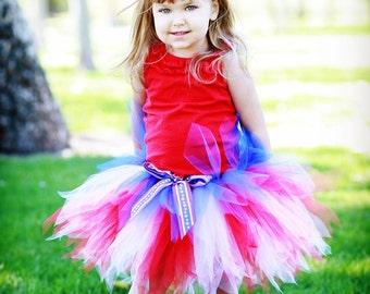 "Red White and Blue Tutu for 4th of July, Girls Tutu, Baby Tutu, Photo Prop Tutu, Sailor, 11"" pixie tutu, Military Tutu, Pageant Tutu, Tutus"