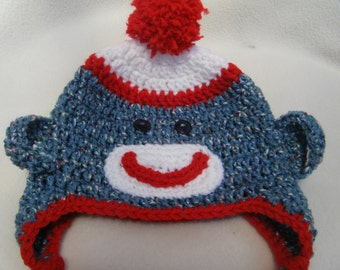 Crocheted Sock Monkey Hat - MADE TO ORDER - Handmade By Me