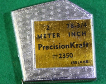 """Vintage scarce made in Ireland PrecisionKarft #2350  -2 Meter 78 3/4"""" pocket tapemeasure  - Free Shipping Domestic USA"""