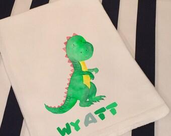 Personalized Dinosaur T-Rex Tyrannosaurus Rex White Flour Sack Hand Towel Little Boy Girl Dinosaur Bathroom Hand Towel Birthday Party Favor