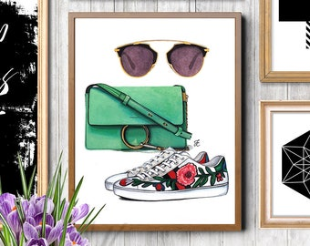 Fashion accessories, Fashion illustration, Fashion art gift, Gucci print, Gucci shoes, Chloe bag, Dior, Dior print, Chloe print, Fashion art