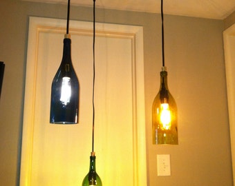 3 Light Recycled Wine Bottle Hanging Chandelier