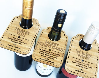 Personalised Bamboo Wine Bottle Tags