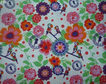 Fabric C793 parrots and flowers coupon 35x50cm