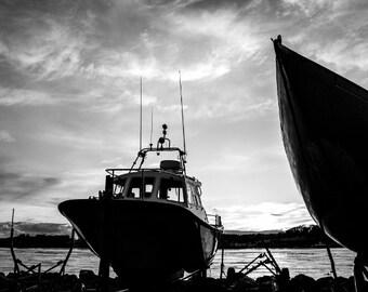 Boat Print - Irish Sunset Black and White Photograph - Ship Art - Northern Ireland
