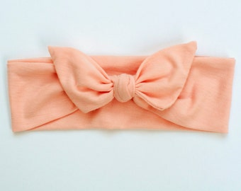Light Pink/Peach Jersey Knit Knotted Bow Headband/Headwrap Baby Toddler Child Adult