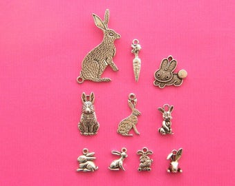 The Rabbit Charm Collection - 10 antique silver tone charms