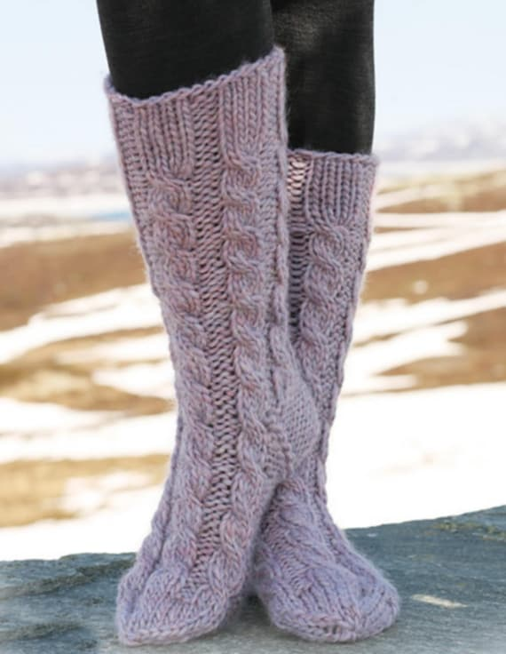 Hand Knitted Knee High Socks Cashmere Wool Cable Pattern 27