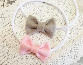 Nylon Headband Bow, Felt Bow Headband, Felt Hair Bow, Nylon Headbands Baby, Pink Bow Headband, Gray Headband Baby, Teen Hair Bows