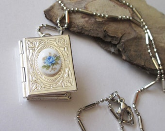 Victorian Locket, Book Shaped, Pendant Necklace, Antiqued Silver Plated Brass Memoir Necklace, Book Lovers, Locket Necklace