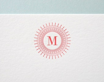 Sunburst Initial Stationery - Custom letterpress flat note set