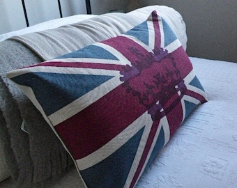 hand printed classic heritage union jack flag cushion cover with crown overlay
