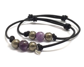 Couples Bracelets Set, Ultra Violet Amethysts & Pyrites Sterling Heart Charm Black Leather Bracelet, Girlfriend Friendship Promise Bracelet