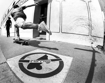 "80s Skate Photo - Steve Rocco Hermosa Beach - Eighties Skateboarding Photograph 18X24"""