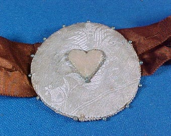 Antique Silk Sewing Pin Cushion Disc with Silk Heart, Very Early Pins, c 1800