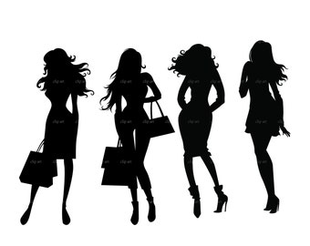 fashion shopping girls silhouette digital clipart vector eps png files Clip Art Images Instant Download