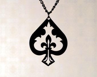Fleur de lis Spade necklace in black stainless steel, Ace of Spades, Fleur de lis Jewelry