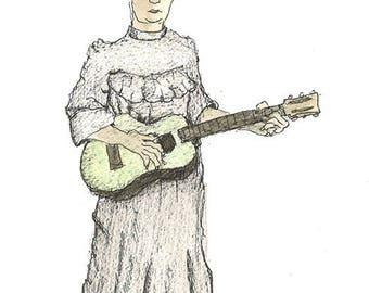 """Original Folk Art: (8"""" x 10"""") Musician with Guitar"""