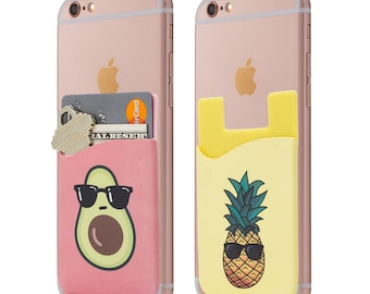 Two Avocado and Pineapple Cell Phone Stick on Wallet Card Holder Phone Pocket for iPhone, Android and all Smartphones