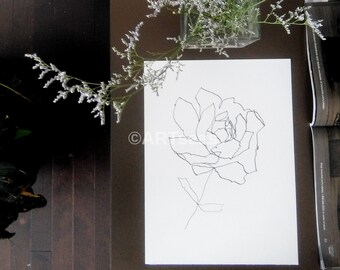 "ORIGINAL Abstract Minimalist Drawing ""Blume Series""; Botanical Drawing, Flower Drawing; 9 x 12 inch 185 Canson Paper"